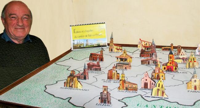 Michel Fréchou a eu l'idée de réaliser toutes les églises et les chapelles du canton, en bois, sur un plan, afin de faire découvrir aux visiteurs la beauté de ces édifices religieux./ PhotoDDM, Y.CS.
