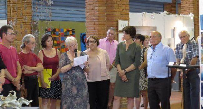 Le vernissage du Salon en présence d'Andrée Capdeville, présidente des Muses d'Europe, de Michel Bouillié, président d'honneur. / Photo DDM