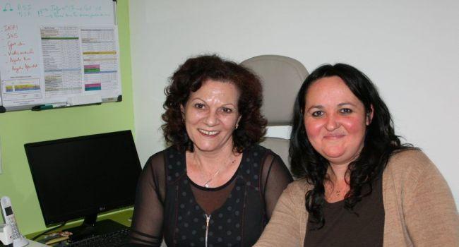 Maryline Soldeville et Chrystelle Gauthier, les deux associées dynamiques qui ont ouvert leur entreprise d'aide à domicile en avril 2015 à L'Isle-en-Dodon./ Photo DDM, Y.C-S
