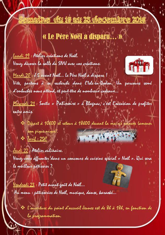 Programme SIVU 11-17 ans vacances de noël