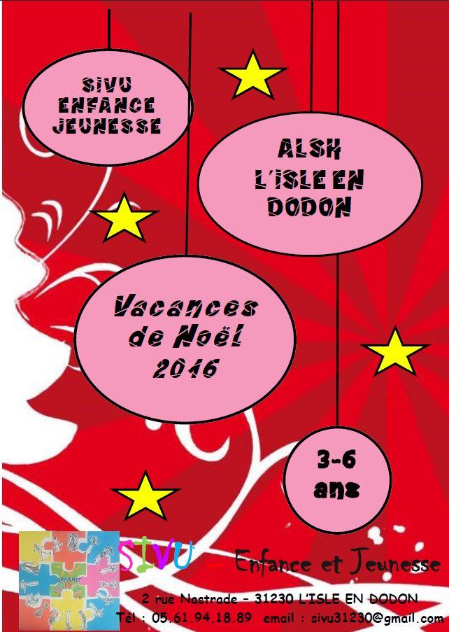 programme 3-6 ans SIVU vacances noël 2016