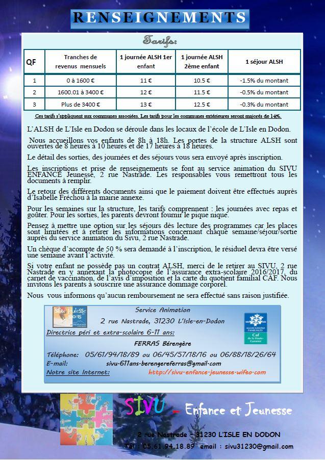 Programme SIVU 6-11 ans vacances de Noël 2016