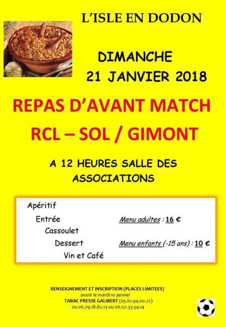 repas d'avant match RCL-SOL foot le 21 janvier l'isle en dodon