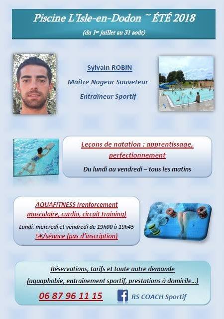 cours de natation, aquafitness piscine l'isle en dodon