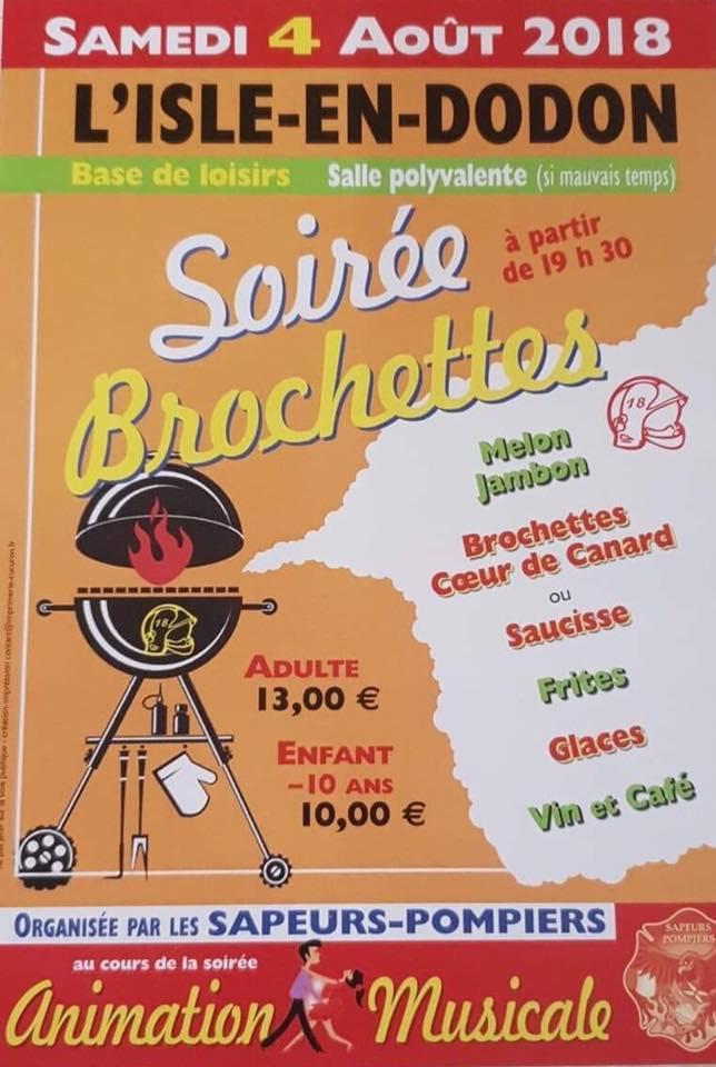 Soirée brochettes des Sapeurs-pompiers de l'Isle-en-Dodon