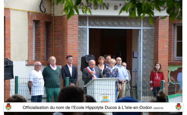Officialisation du nom de l'école Hippolyte Ducos l'Isle en Dodon